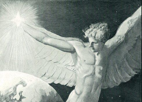 """Deckelbild """"Friede auf Erden"""" von Sascha Schneider, 1904: ein nackter Engel umkreist die Erde und hält ein Licht in der rechten Hand"""