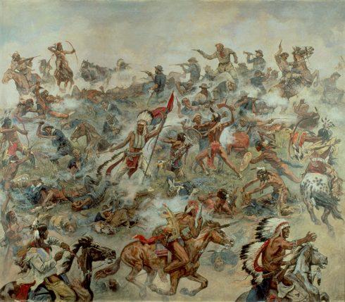 """Gemälde """"Indianerschlacht am Little Bighorn"""" von Emil """"Elk"""" Eber von 1936"""