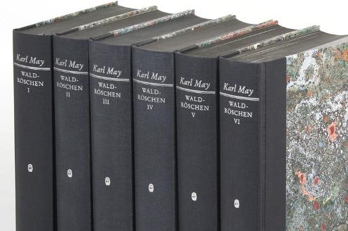 Historisch-kritische Ausgabe der Werke Karl Mays: Waldröschen oder die Rächerjagd rund um die Erde, sechs Bücher mit schwarzen Buchrücken