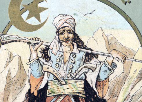 """Illustration zu """"Durch das Land der Skipetaren"""" als fünfter Band des Orientzyklus, ein bewaffneter Mann mit einem Turban"""