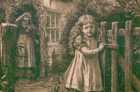 """Illustration zu Karl Mays erstem Lieferungsroman: """"Waldröschen oder die Rächerjagd rund um die Erde"""", ein Mädchen geht aus einem Gartentor, während eine Frau ihr zuwinkt"""