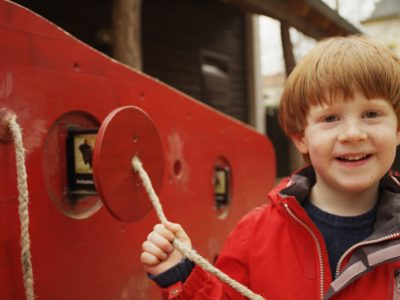 Boy at the adventure playground