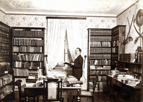 Karl May in his library, 1896