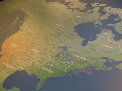 Map of North America at the interactive station for children
