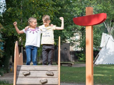 Kids at the adventure playground