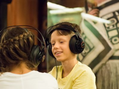 Audio feature of the interactive station for children