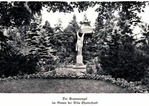 Monochrome historical postcard of the fountain angel figure