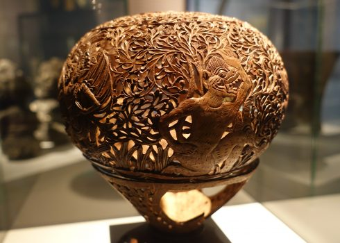 Carving made from a coconut, Southeast Asia