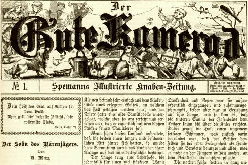 """""""Der Sohn des Bärenjägers"""" in der ersten Ausgabe der Zeitschrift """"Der Gute Kamerad"""", 1887"""
