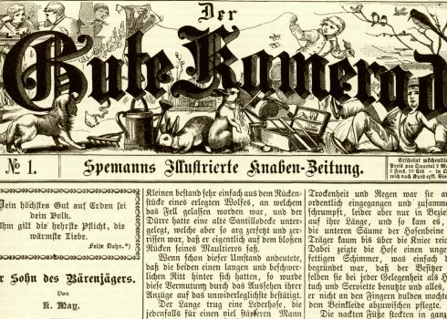 "Story ""Der Sohn des Bärenjägers"" within the first edition of the journal ""Der Gute Kamerad"", 1887"