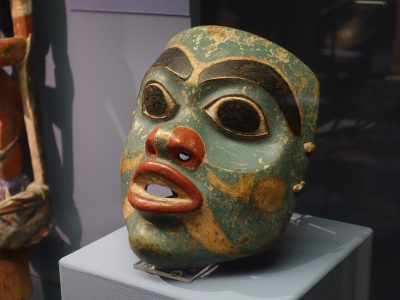 Green dancing mask, northwest coast of Northern America