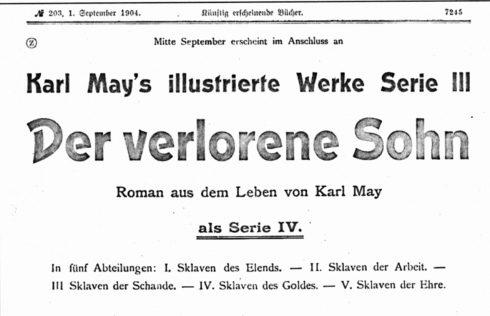 """Ausschnitt der Verlagsanzeige zum Lieferungsroman """"Der verlorene Sohn"""""""