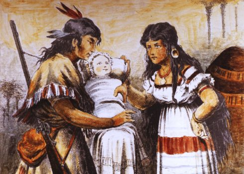 Winnetou and Ribanna, first illustration of the Winnetou character, 1879