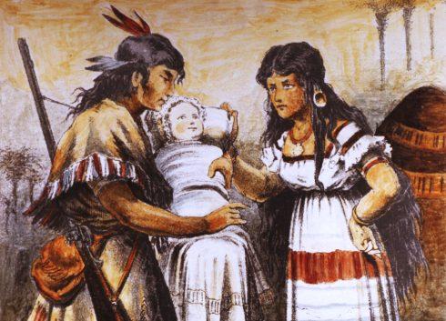 Winnetou und Ribanna, erste Winnetou-Darstellung aus dem Jahr 1879: ein indianisches Paar hält ein Baby auf dem Arm