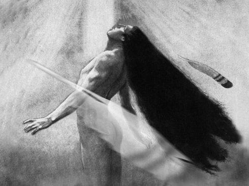 """""""Winnetou"""" von Rainer Griese, 2007: Winnetou steigt nackt und mit wehendem Haar zum Himmel auf"""