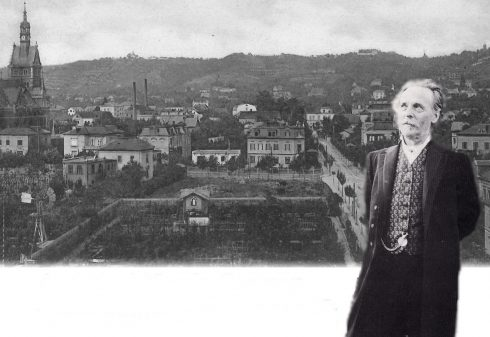 Karl-May-Führung durch Radebeul: Fotocollage Karl May vor historischem Bild von Radebeul
