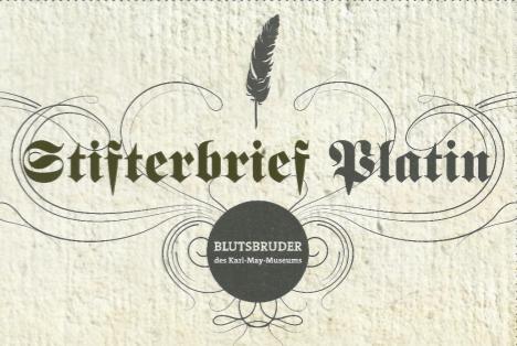 Stifterbrief Platin mit Feder für Spenden ab 10.000 Euro