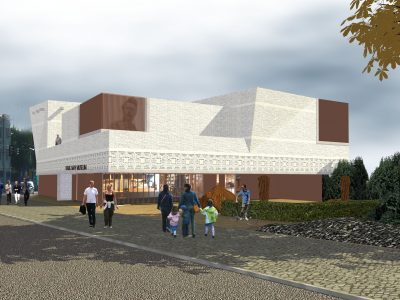 Visualisierung: Eingangsbereich des braun-beigen Museumsneubaus