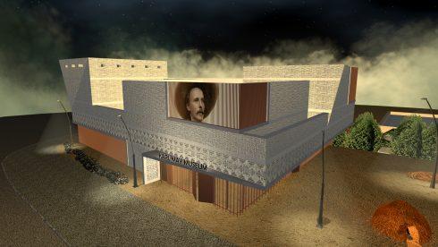 Visualisierung bei Nacht: Nordansicht des geplanten braun-beigen Museumsneubaus