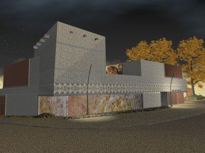 Visualisierung bei Nacht: Ostansicht auf den braun-beigen Museumsneubau