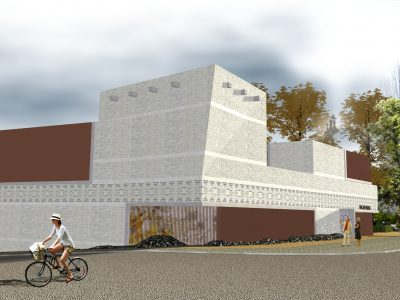 Visualisierung: Ostansicht auf den braun-beigen Museumsneubau