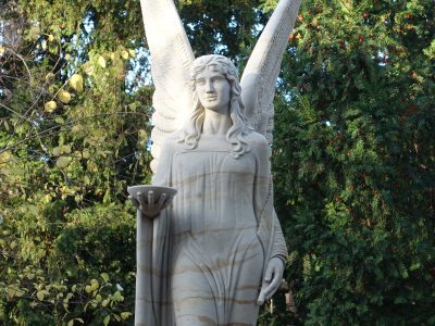 Close-up view of the recontructed fountain angel sculpture in the museum park